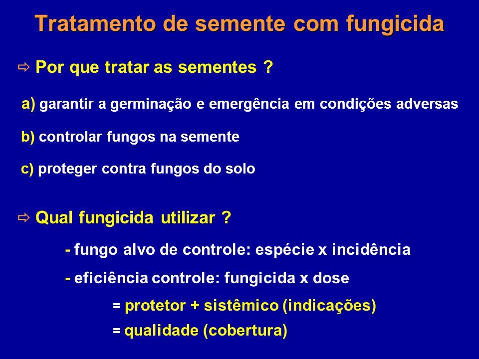 Tratamento de semente com fungicida Por que tratar as sementes ? a) garantir a germinação e emergência em condições adversas b) controlar fungos na se
