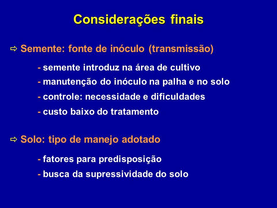 Considerações finais Semente: fonte de inóculo (transmissão) - semente introduz na área de cultivo - manutenção do inóculo na palha e no solo - contro