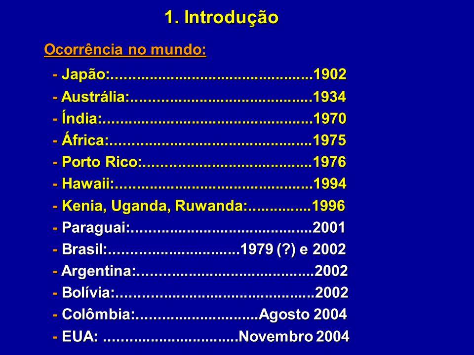 1. Introdução Ocorrência no mundo: - Japão:................................................1902 - Japão:..............................................