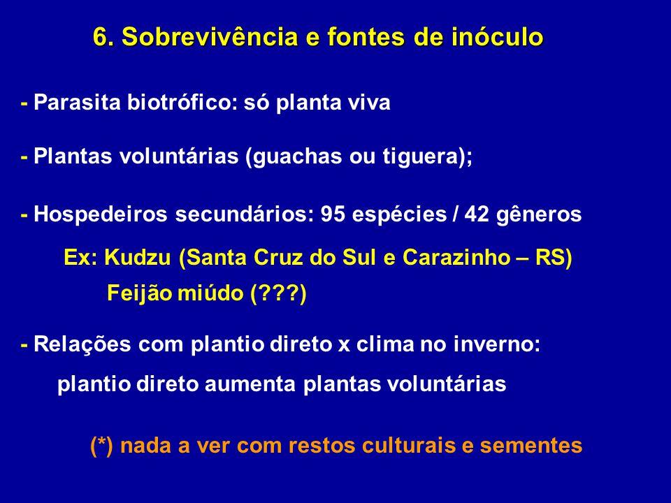 - Parasita biotrófico: só planta viva - Plantas voluntárias (guachas ou tiguera); - Hospedeiros secundários: 95 espécies / 42 gêneros Ex: Kudzu (Santa