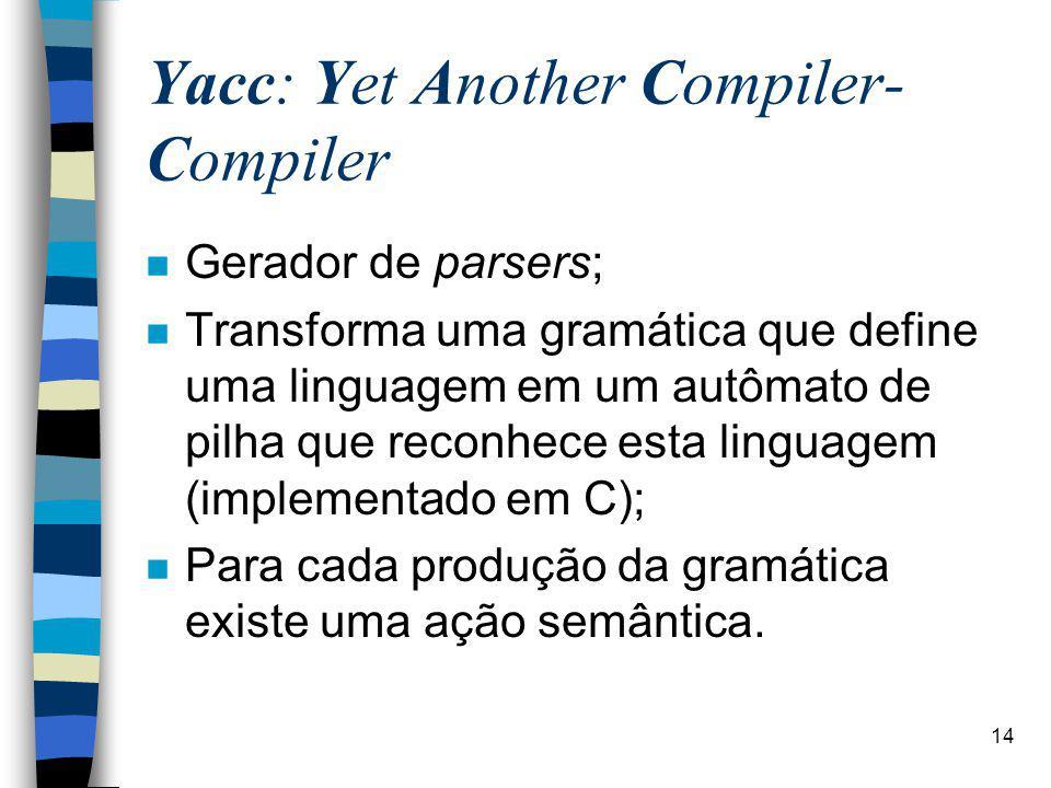 14 Yacc: Yet Another Compiler- Compiler n Gerador de parsers; n Transforma uma gramática que define uma linguagem em um autômato de pilha que reconhece esta linguagem (implementado em C); n Para cada produção da gramática existe uma ação semântica.