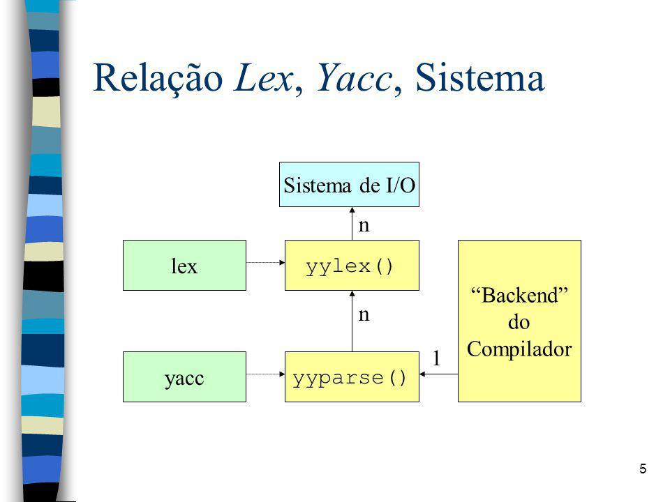 16 Yacc: Declarações Códigos em C (de maneira semelhante ao Lex) entre %{ %}; Definição de tokens: %token T1 T2 T3...