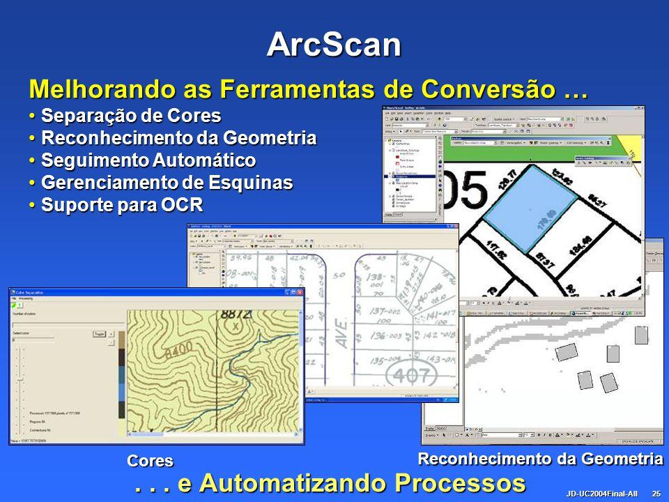 JD-UC2004Final-All25 ArcScan... e Automatizando Processos Melhorando as Ferramentas de Conversão … Separação de CoresSeparação de Cores Reconhecimento