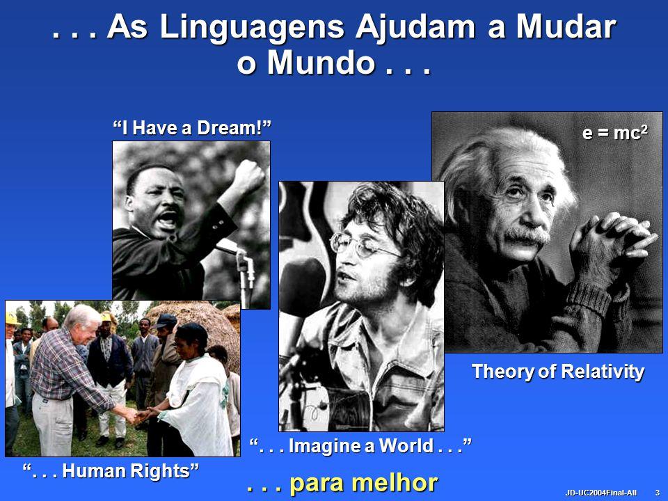 JD-UC2004Final-All3... As Linguagens Ajudam a Mudar o Mundo...... Human Rights... Imagine a World... Theory of Relativity e = mc 2 I Have a Dream!...