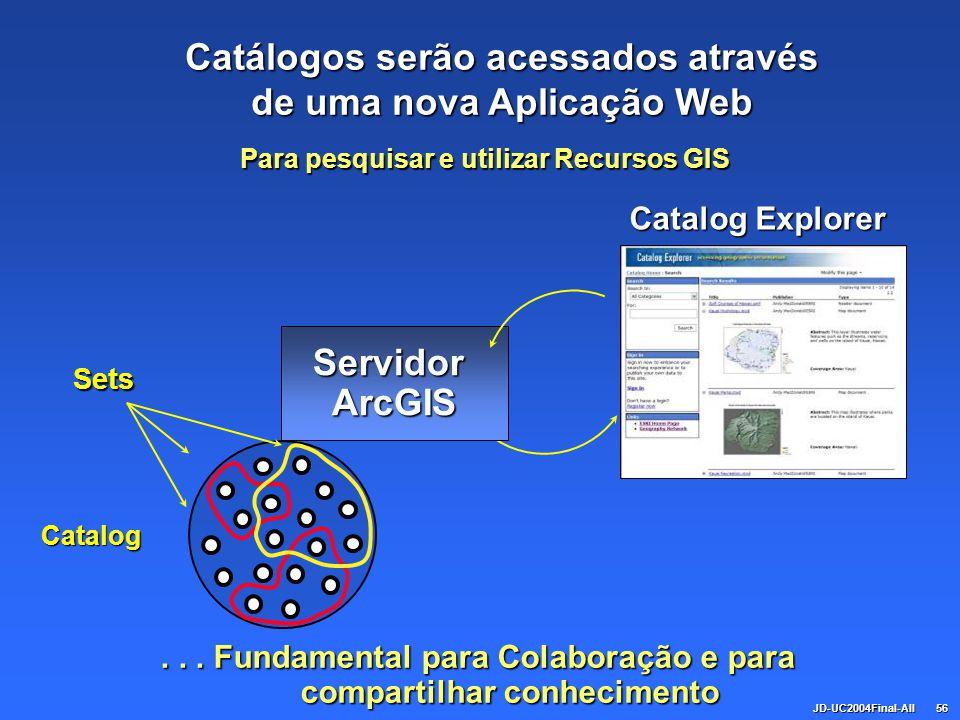 JD-UC2004Final-All56 ServidorArcGIS Catalog Explorer... Fundamental para Colaboração e para compartilhar conhecimento Catalog Para pesquisar e utiliza