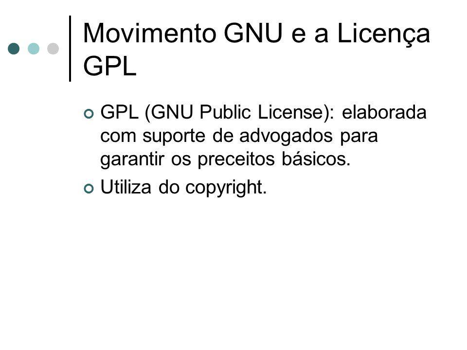 Movimento GNU e a Licença GPL GPL (GNU Public License): elaborada com suporte de advogados para garantir os preceitos básicos. Utiliza do copyright.