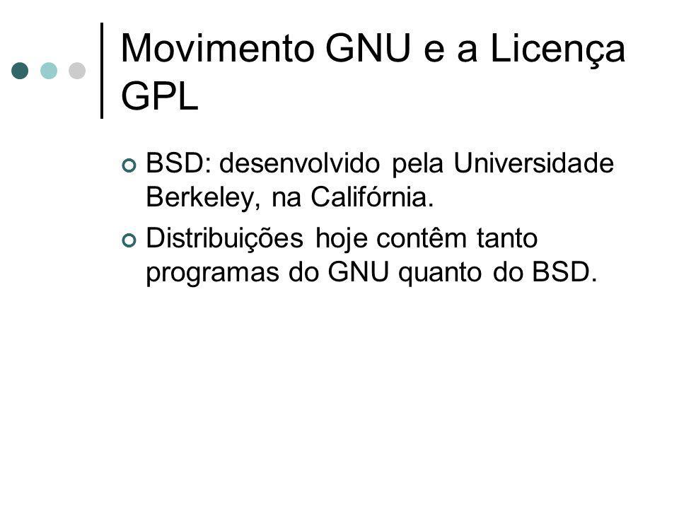 Movimento GNU e a Licença GPL BSD: desenvolvido pela Universidade Berkeley, na Califórnia. Distribuições hoje contêm tanto programas do GNU quanto do