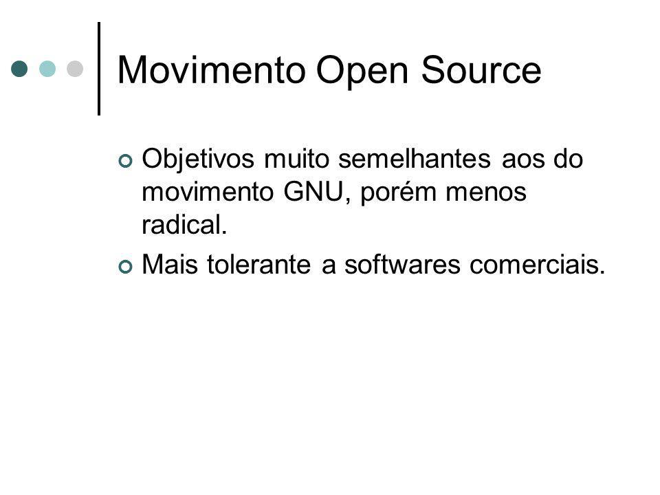Movimento Open Source Objetivos muito semelhantes aos do movimento GNU, porém menos radical. Mais tolerante a softwares comerciais.