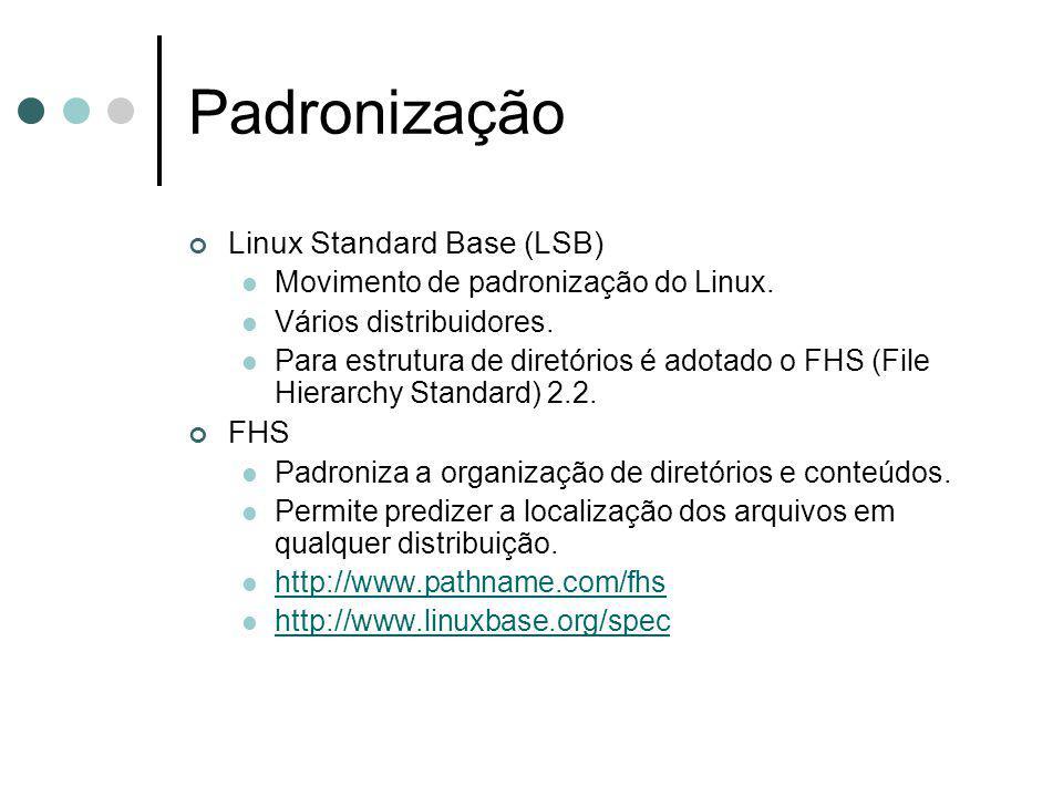 Padronização Linux Standard Base (LSB) Movimento de padronização do Linux. Vários distribuidores. Para estrutura de diretórios é adotado o FHS (File H