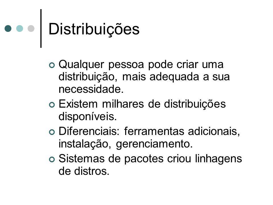 Qualquer pessoa pode criar uma distribuição, mais adequada a sua necessidade. Existem milhares de distribuições disponíveis. Diferenciais: ferramentas