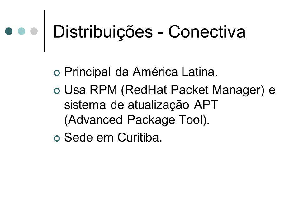 Distribuições - Conectiva Principal da América Latina. Usa RPM (RedHat Packet Manager) e sistema de atualização APT (Advanced Package Tool). Sede em C