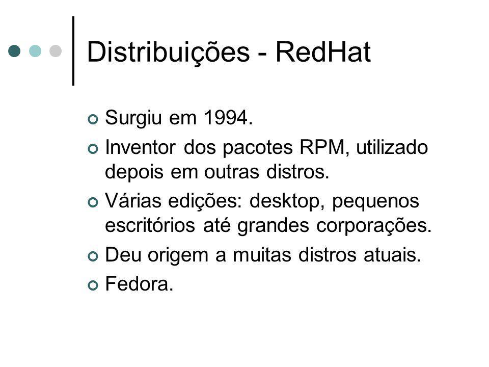 Distribuições - RedHat Surgiu em 1994. Inventor dos pacotes RPM, utilizado depois em outras distros. Várias edições: desktop, pequenos escritórios até