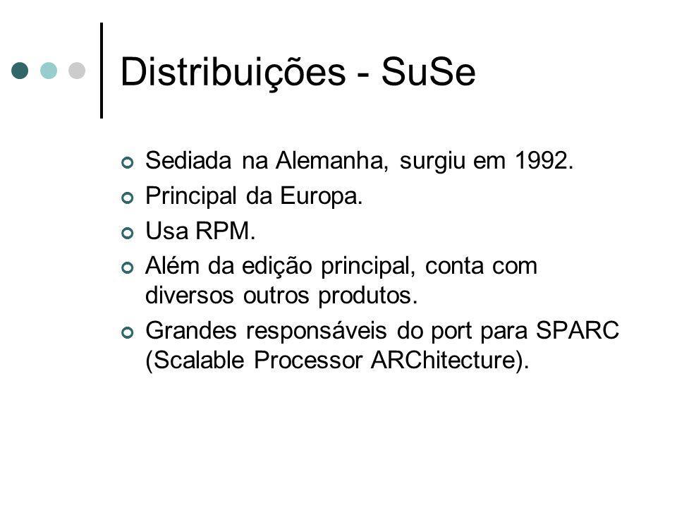 Distribuições - SuSe Sediada na Alemanha, surgiu em 1992. Principal da Europa. Usa RPM. Além da edição principal, conta com diversos outros produtos.