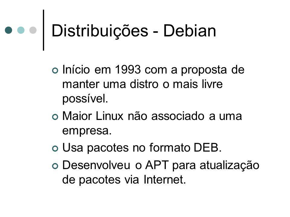 Distribuições - Debian Início em 1993 com a proposta de manter uma distro o mais livre possível. Maior Linux não associado a uma empresa. Usa pacotes