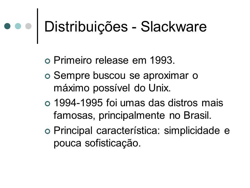 Distribuições - Slackware Primeiro release em 1993. Sempre buscou se aproximar o máximo possível do Unix. 1994-1995 foi umas das distros mais famosas,