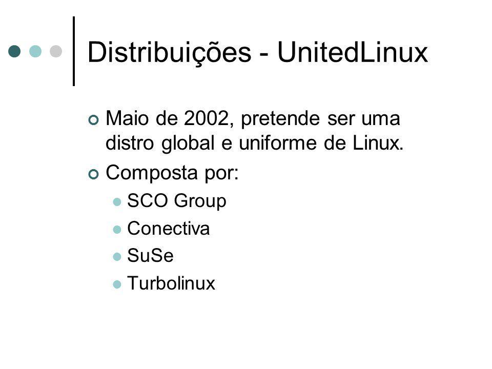 Distribuições - UnitedLinux Maio de 2002, pretende ser uma distro global e uniforme de Linux. Composta por: SCO Group Conectiva SuSe Turbolinux