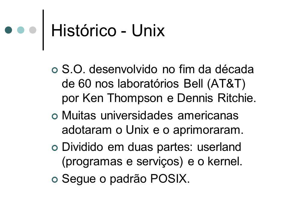Histórico - Unix S.O. desenvolvido no fim da década de 60 nos laboratórios Bell (AT&T) por Ken Thompson e Dennis Ritchie. Muitas universidades america