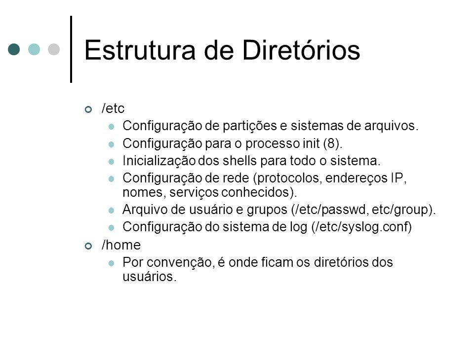 Estrutura de Diretórios /etc Configuração de partições e sistemas de arquivos. Configuração para o processo init (8). Inicialização dos shells para to