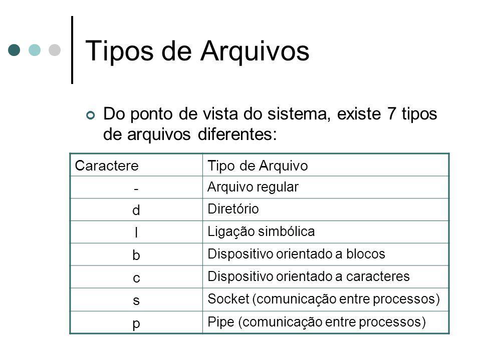 Tipos de Arquivos Do ponto de vista do sistema, existe 7 tipos de arquivos diferentes: CaractereTipo de Arquivo - Arquivo regular d Diretório l Ligaçã