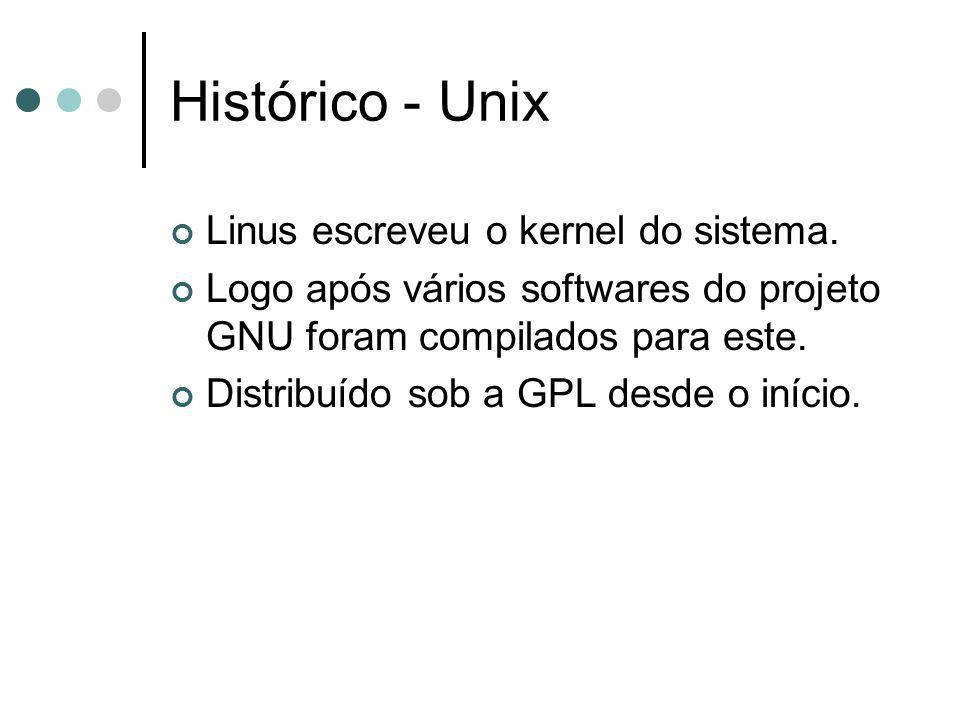 Histórico - Unix Linus escreveu o kernel do sistema. Logo após vários softwares do projeto GNU foram compilados para este. Distribuído sob a GPL desde