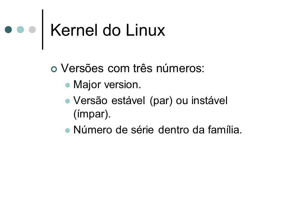 Kernel do Linux Versões com três números: Major version. Versão estável (par) ou instável (ímpar). Número de série dentro da família.