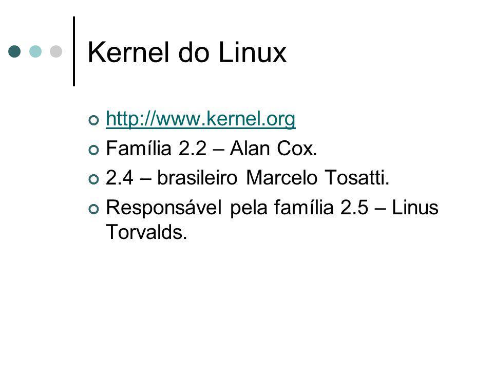 Kernel do Linux http://www.kernel.org Família 2.2 – Alan Cox. 2.4 – brasileiro Marcelo Tosatti. Responsável pela família 2.5 – Linus Torvalds.