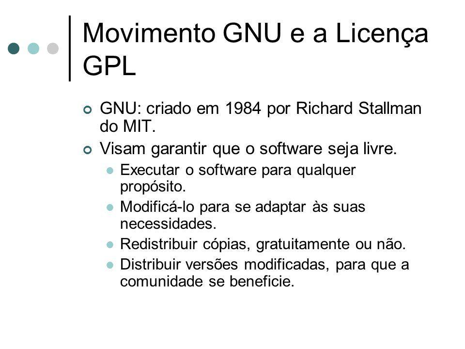 Movimento GNU e a Licença GPL GNU: criado em 1984 por Richard Stallman do MIT. Visam garantir que o software seja livre. Executar o software para qual