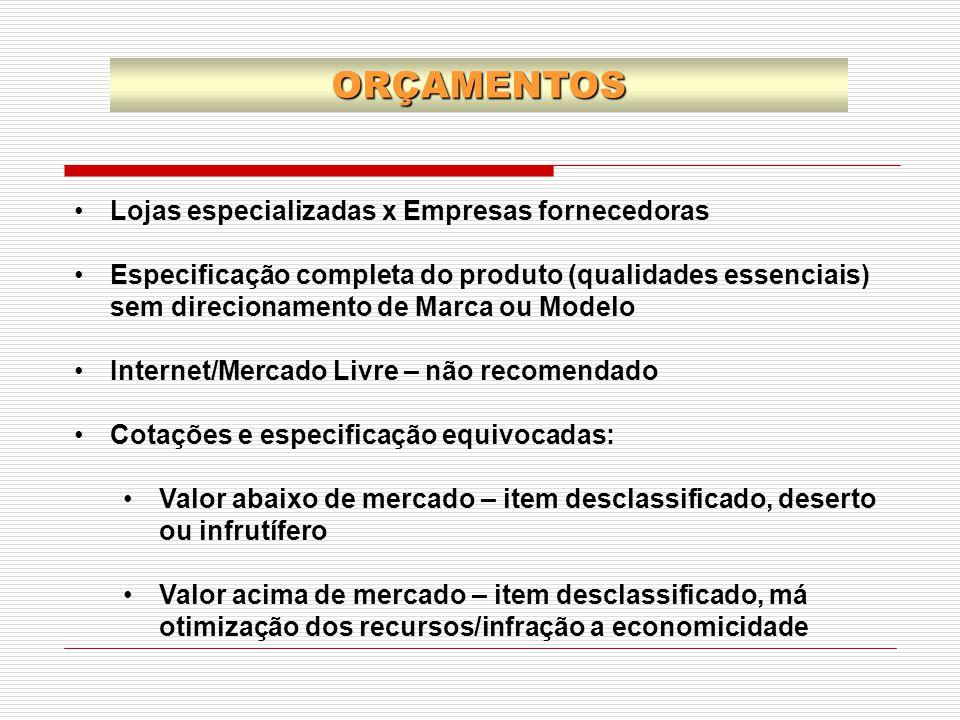 Lojas especializadas x Empresas fornecedoras Especificação completa do produto (qualidades essenciais) sem direcionamento de Marca ou Modelo Internet/