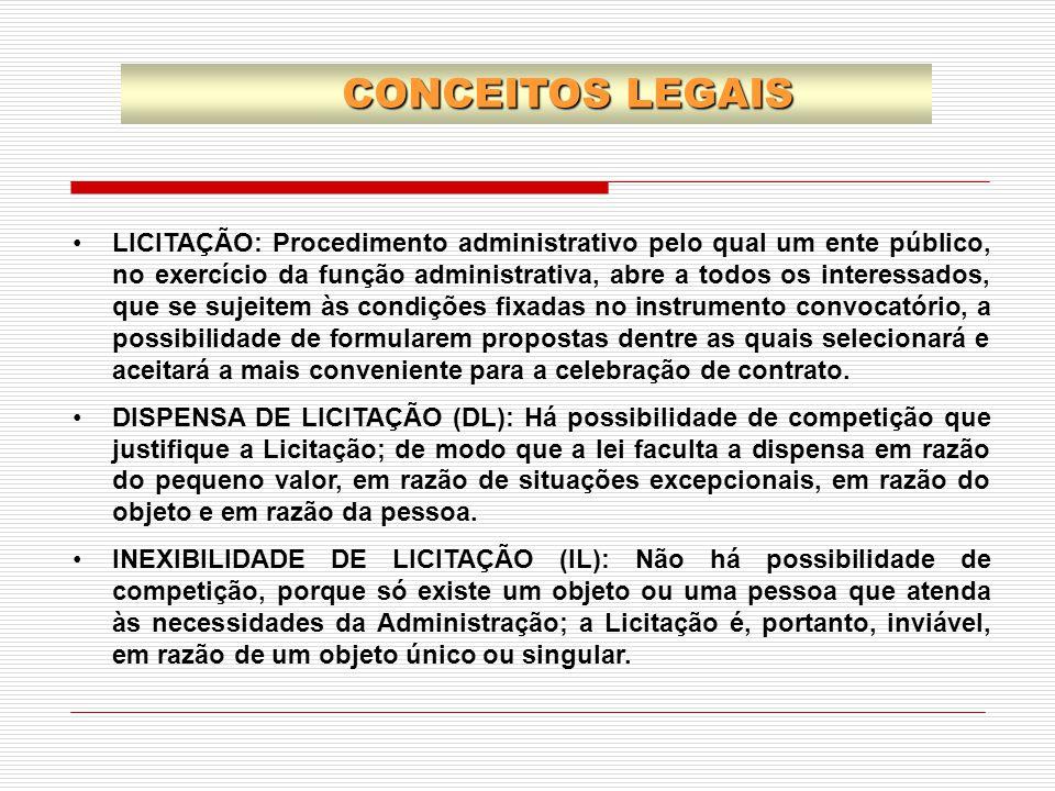LICITAÇÃO: Procedimento administrativo pelo qual um ente público, no exercício da função administrativa, abre a todos os interessados, que se sujeitem