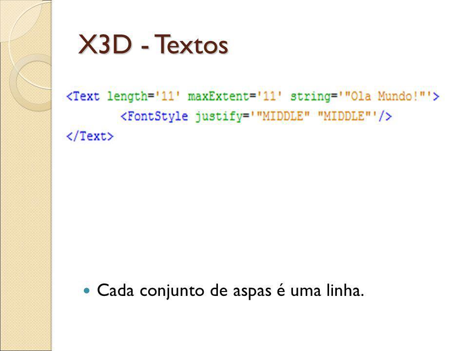 X3D - Textos Cada conjunto de aspas é uma linha.