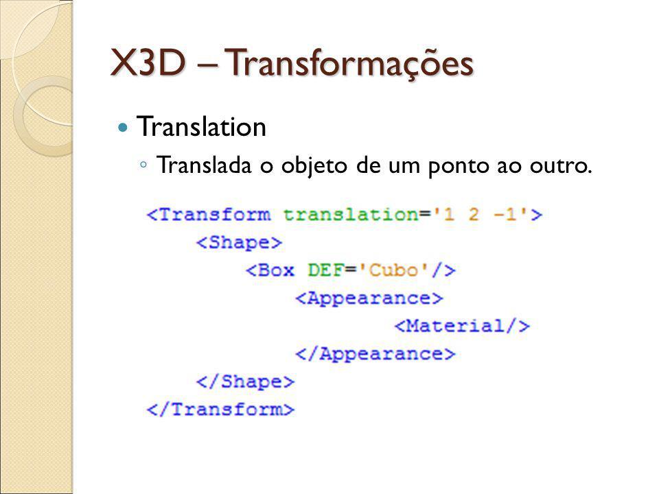 X3D – Transformações Translation Translada o objeto de um ponto ao outro.