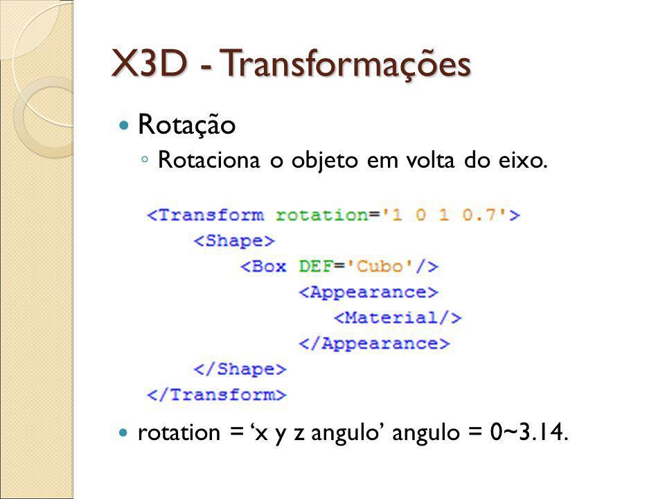 X3D - Transformações Rotação Rotaciona o objeto em volta do eixo.