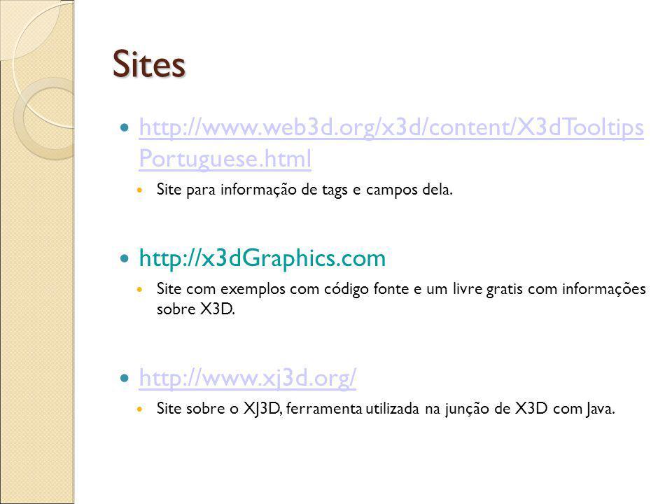 Sites http://www.web3d.org/x3d/content/X3dTooltips Portuguese.html http://www.web3d.org/x3d/content/X3dTooltips Portuguese.html Site para informação de tags e campos dela.