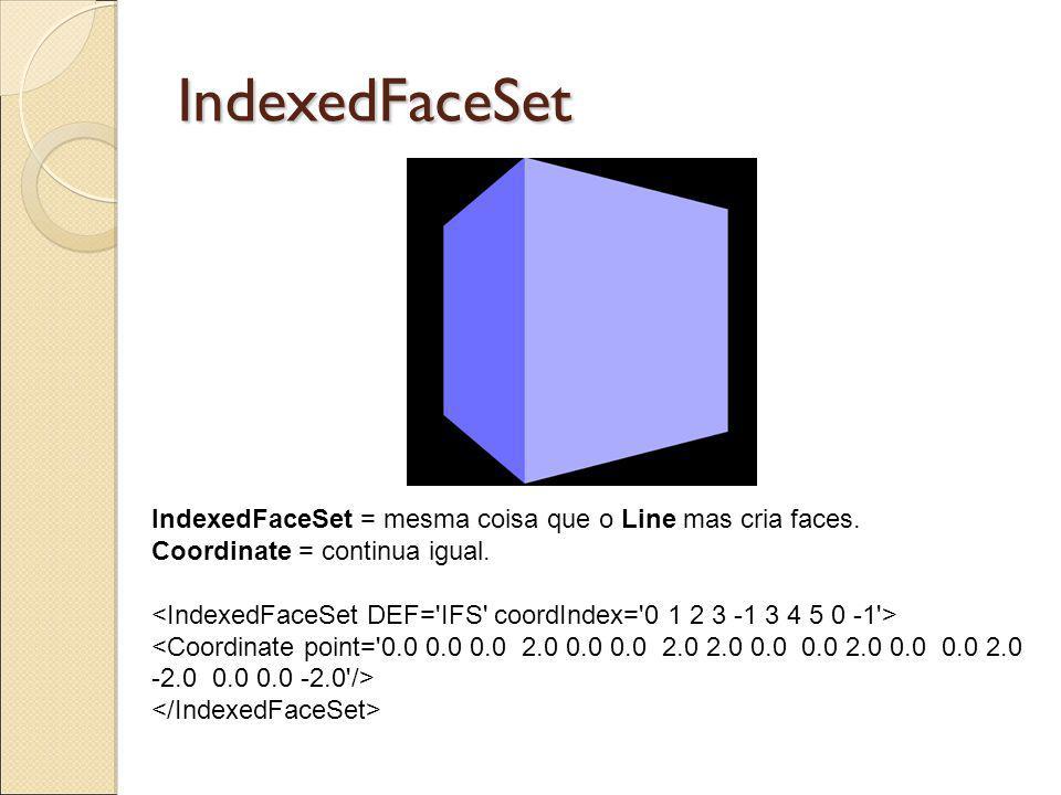 IndexedFaceSet IndexedFaceSet = mesma coisa que o Line mas cria faces. Coordinate = continua igual.