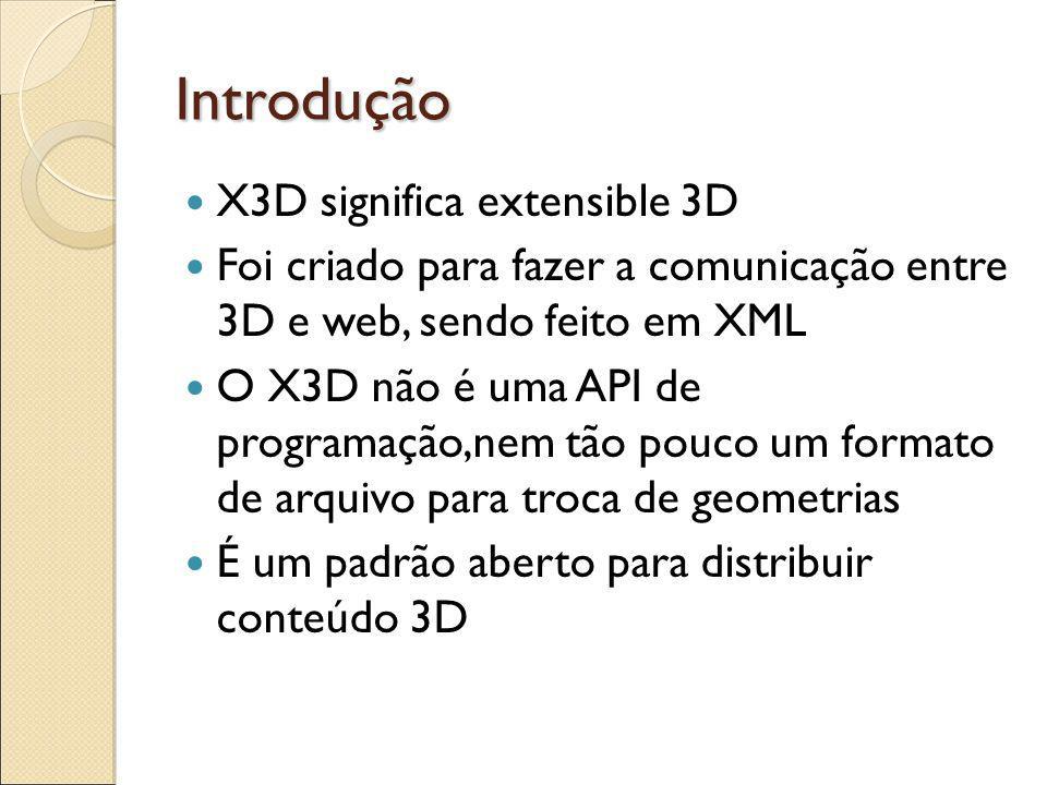 Introdução X3D significa extensible 3D Foi criado para fazer a comunicação entre 3D e web, sendo feito em XML O X3D não é uma API de programação,nem tão pouco um formato de arquivo para troca de geometrias É um padrão aberto para distribuir conteúdo 3D