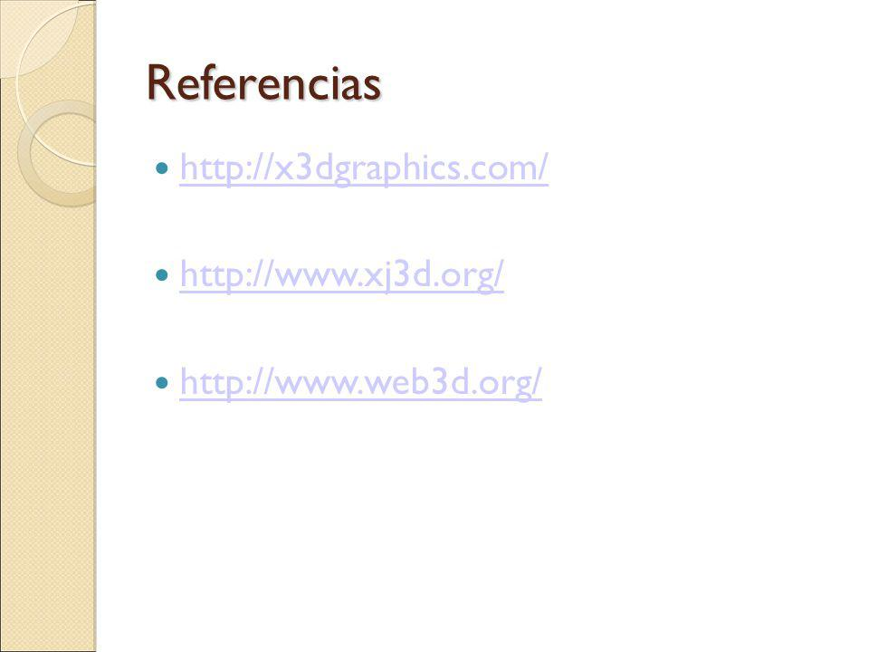 Referencias http://x3dgraphics.com/ http://www.xj3d.org/ http://www.web3d.org/