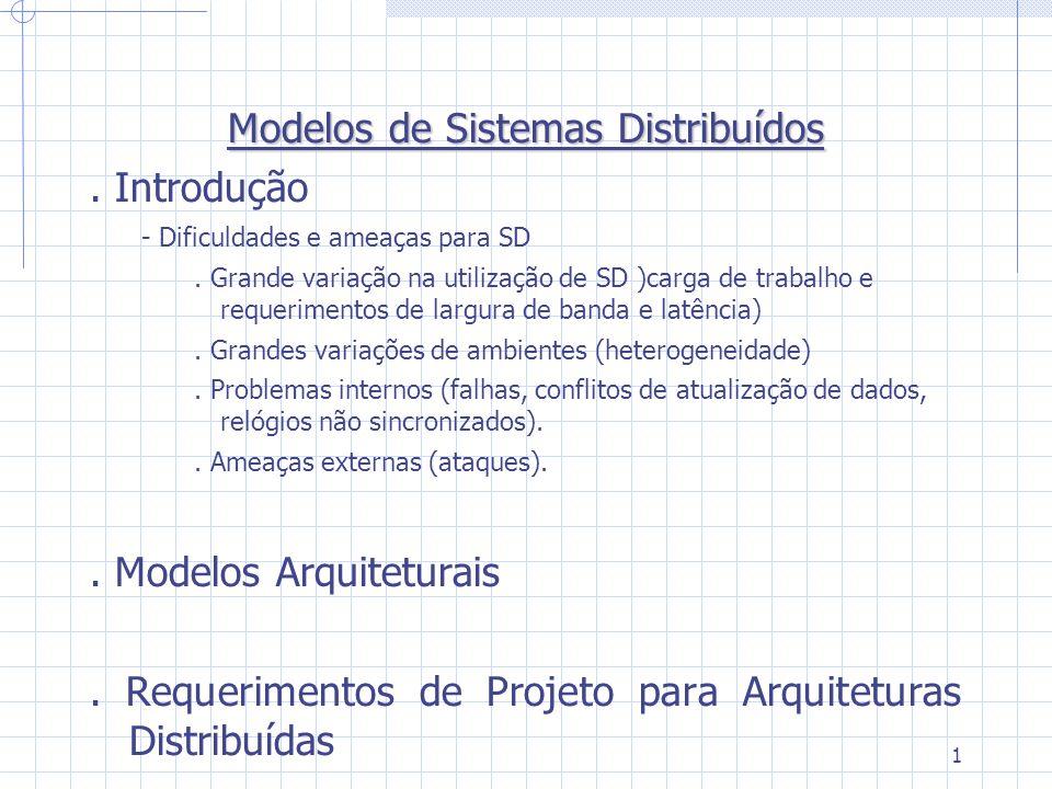 1 Modelos de Sistemas Distribuídos. Introdução - Dificuldades e ameaças para SD. Grande variação na utilização de SD )carga de trabalho e requerimento