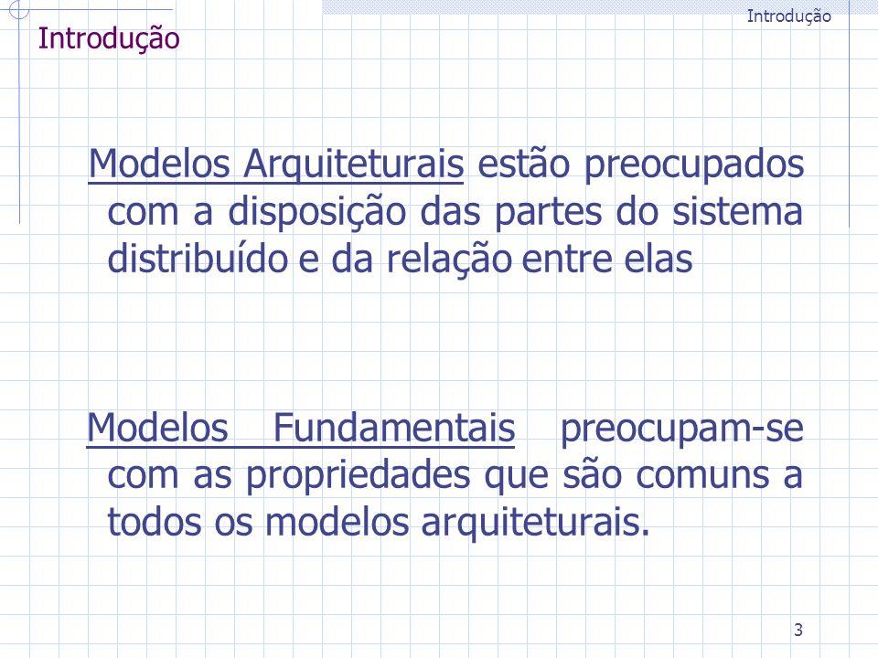 3 Modelos Arquiteturais estão preocupados com a disposição das partes do sistema distribuído e da relação entre elas Modelos Fundamentais preocupam-se com as propriedades que são comuns a todos os modelos arquiteturais.