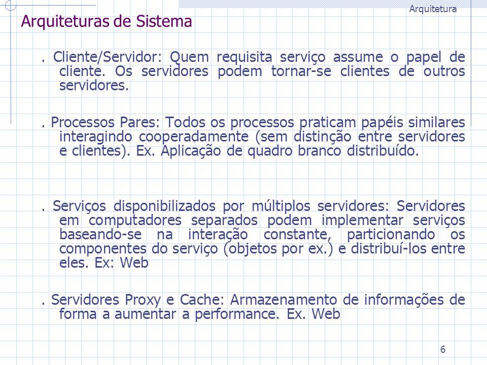 6 Arquiteturas de Sistema. Cliente/Servidor: Quem requisita serviço assume o papel de cliente. Os servidores podem tornar-se clientes de outros servid