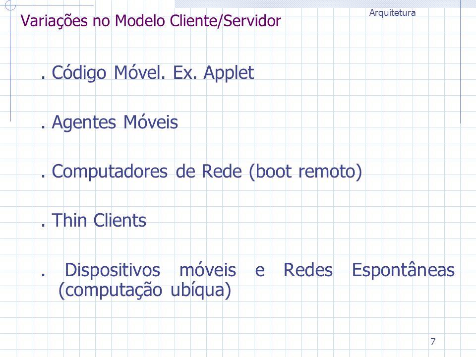 7 Variações no Modelo Cliente/Servidor. Código Móvel. Ex. Applet. Agentes Móveis. Computadores de Rede (boot remoto). Thin Clients. Dispositivos móvei