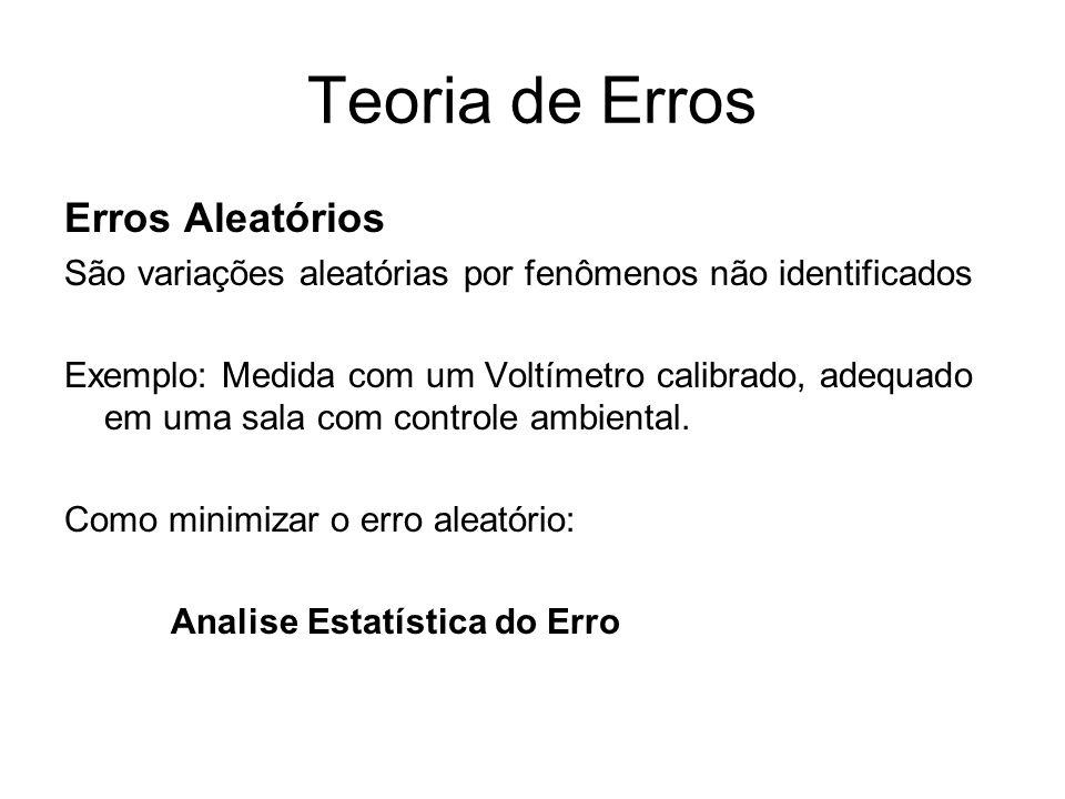 Teoria de Erros Erros Aleatórios São variações aleatórias por fenômenos não identificados Exemplo: Medida com um Voltímetro calibrado, adequado em uma
