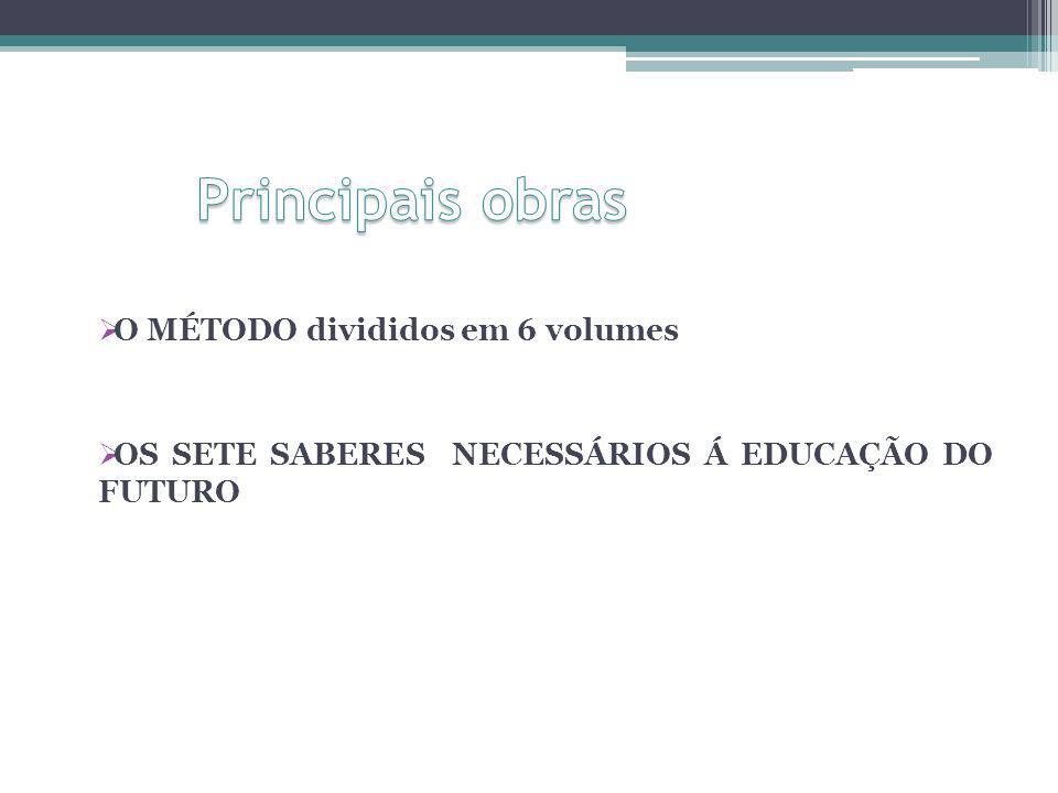 O MÉTODO divididos em 6 volumes OS SETE SABERES NECESSÁRIOS Á EDUCAÇÃO DO FUTURO