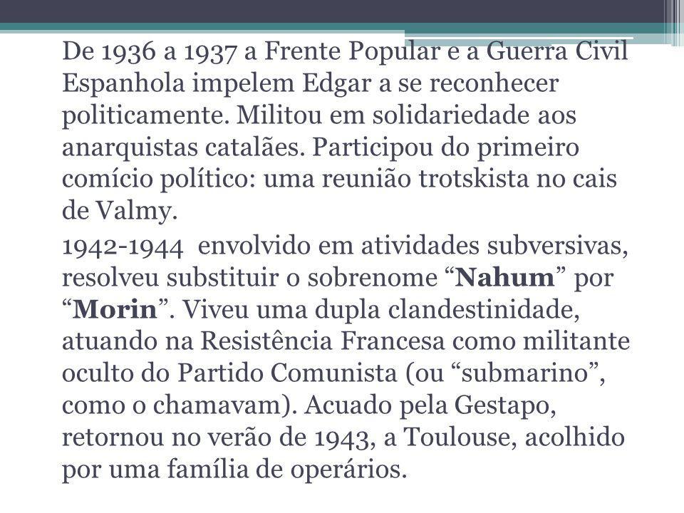 De 1936 a 1937 a Frente Popular e a Guerra Civil Espanhola impelem Edgar a se reconhecer politicamente.