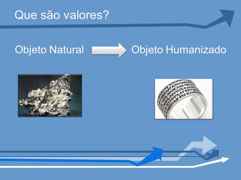 Que são valores? Objeto Natural Objeto Humanizado