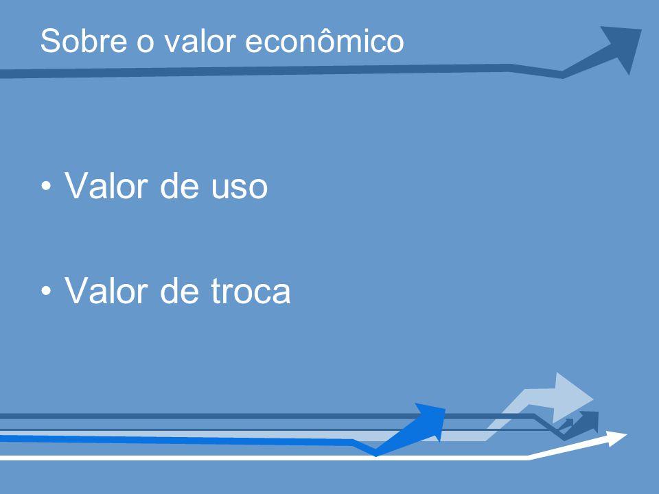 Sobre o valor econômico Valor de uso Valor de troca