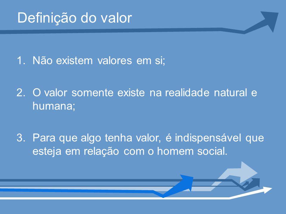 Definição do valor 1.Não existem valores em si; 2.O valor somente existe na realidade natural e humana; 3.Para que algo tenha valor, é indispensável que esteja em relação com o homem social.