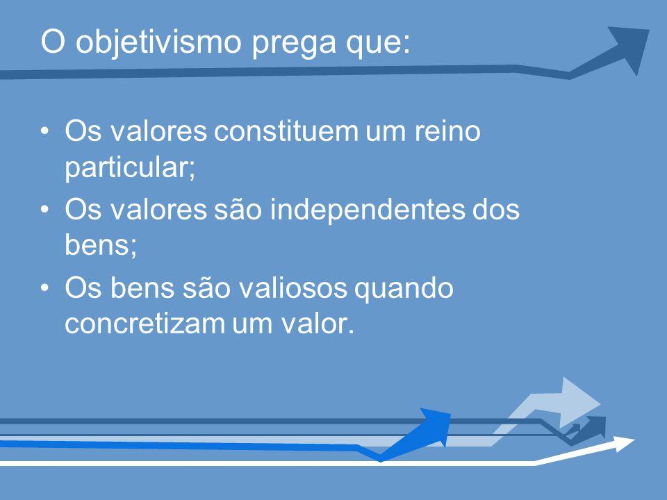 O objetivismo prega que: Os valores constituem um reino particular; Os valores são independentes dos bens; Os bens são valiosos quando concretizam um valor.