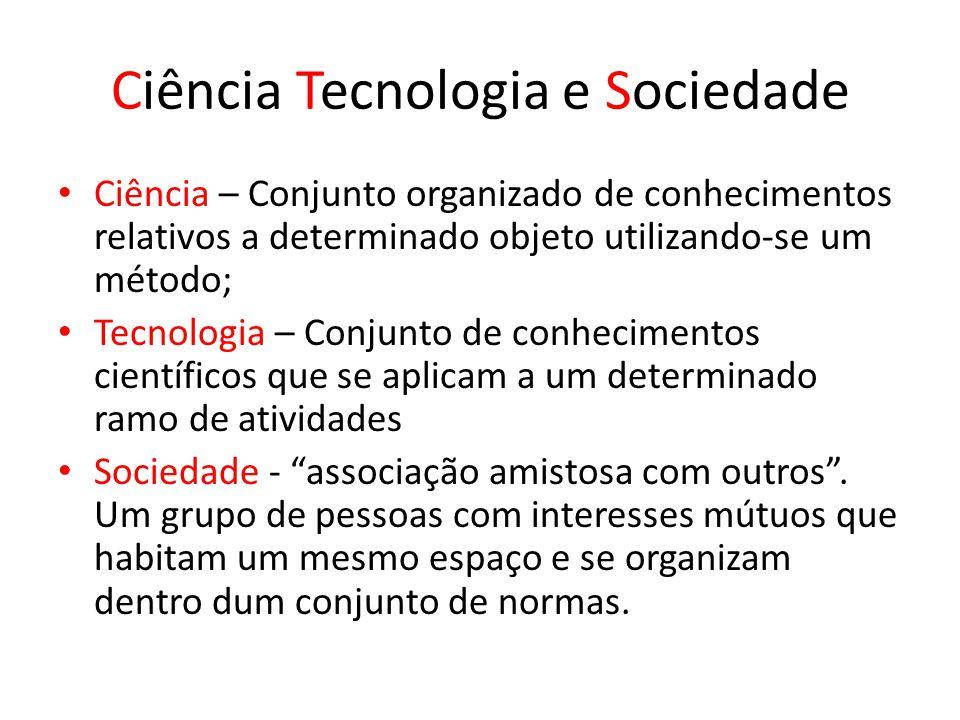 Ciência Tecnologia e Sociedade Ciência – Conjunto organizado de conhecimentos relativos a determinado objeto utilizando-se um método; Tecnologia – Con