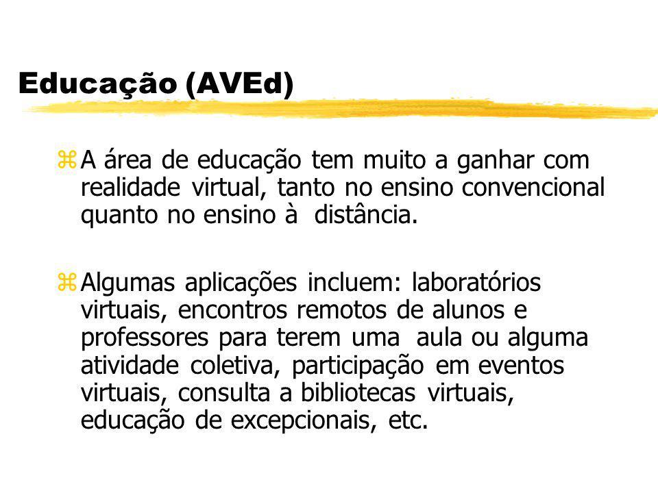 Educação (AVEd) zA área de educação tem muito a ganhar com realidade virtual, tanto no ensino convencional quanto no ensino à distância. zAlgumas apli