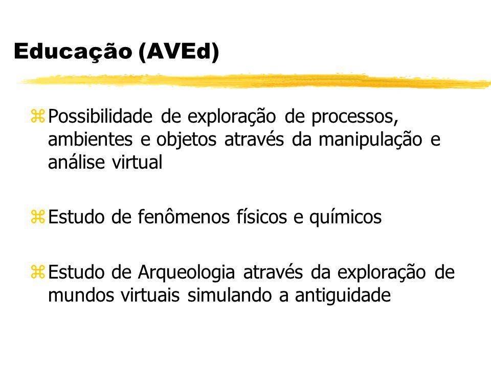 Educação (AVEd) zPossibilidade de exploração de processos, ambientes e objetos através da manipulação e análise virtual zEstudo de fenômenos físicos e